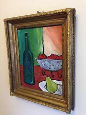 """Oil On Wood Block Painting Ben Mann (USA) in 19th Century Gesso Frame 14x11"""""""