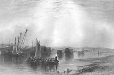 Kent, CHATHAM DOCKS HARBOR SAILBOATS SHIPS GALLEONS ~ 1840 Art Print Engraving