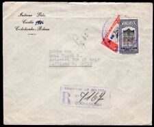 4016 BOLIVIA TO CHILE REGISTERED COVER 1951 BISECTED STAMP COCHABAMBA - SANTIAGO
