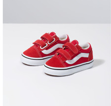 Vans Toddlers Old Skool V(Suede)Racing Red/ True White All Sizes 4-10 Free ship