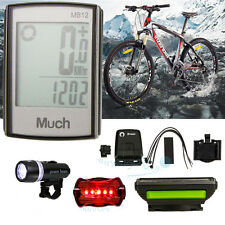 Waterproof Wireless Cycling Computer Speedometer Odometer +Bike Rear Front Light