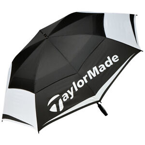 """TaylorMade Tour Double Canopy 64"""" Golf Umbrella 2017 Black/White/Gray New"""
