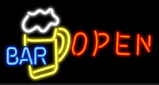 "New Bar Is Open Beer  Pub Light Lamp Neon Sign 20""x16"""