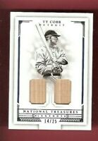 TY COBB 2 GAME USED BAT CARD #d14/25 NATIONAL TREASURES LEGENDS DETROIT TIGERS