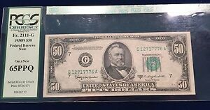 1950D $50 FRN Fr 2111-G Chicago District PCGS 65PPQ Gem New. Krause MV $350.