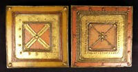 2 Yvonne Magener tiles art pottery hand crafted gilded jeweled w/ studio cards