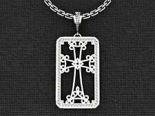 .925 Sterling Silver Dog Tag Christian Cross Pendant Gold Plated Silver