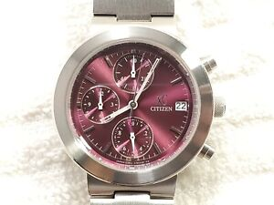 Citizen XC Chronograph Purple Dial Date Quartz Watch Stainless Steel Women's
