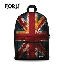 Retro Flag Style Backpack Shoulder School Bag Boys Girls Kids Canvas Bookbags