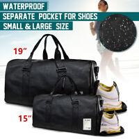 Men Women Sport Gym Shoulder Bag Travel Handbag School Tote With Shoe Pocket