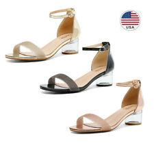Women's Low Heels Sandals Ankle Strap Open Toe Party Dress Wedding Shoes Sandals
