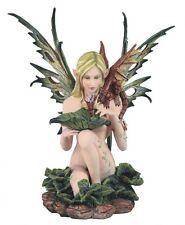 "14"" Lake Fairy w/ Dragon Statue Figurine Figure Fantasy Myth Home Decor"