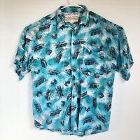 Vintage 80s Men's Southwestern Button-Up Shirt Maxx FM Turquoise Large USA