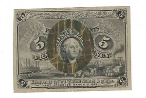 FR. 1232 FIVE CENTS SECOND ISSUE FRACTIONAL CURRENCY NOTE