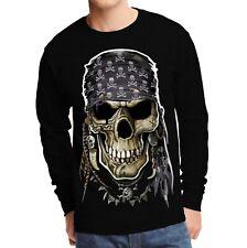 Velocitee Mens Long Sleeve T-Shirt Evil Pirate Skull A17986