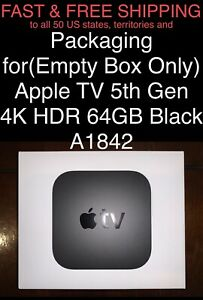 FREE SHIP Packaging for(Empty Box Only) Apple TV 5th Gen 4K HDR 64GB Black A1842