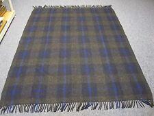 """Vintage Black w Cobalt Blue Plaid 100% Wool Blanket w Fringe Ends 58"""" X 76"""""""