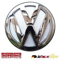 VW GOLF MK4 MK5 MK6 White Carbon Fibre - REAR Badge Inserts. GTI, R32, TDI