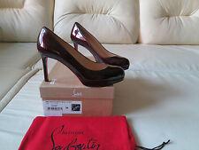 NIB Christian Louboutin New Simple Pump 85 Black Rouge Patent Leather Heel 36 6