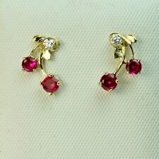 14k solid y/gold Cherry style red Ruby small nice earrings screw back, 0.9 gram