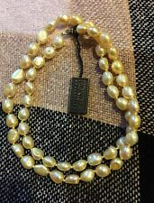 "Honora Sterling Golden Cultured Freshwater Pearl 24"" Baroque Strand"