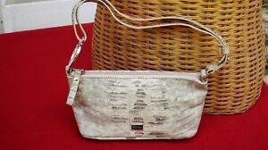 Vtg 80s Coccinelle Italian Beige Grey Genuine Leather Lizard Skin Shoulder Bag..