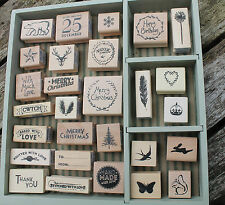 East of India rubber stamps Merry Christmas Happy  Birthday wooden stamp craft