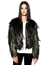 NWT NEW $460 CHASER BLACK IRIDESCENT FEATHER AND LEATHER JACKET COAT STUNNING M