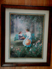 Home Interior Lady w blue skirt & straw hat w girl on the swing/