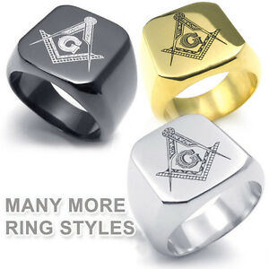 Freemasonry Shack Free Mason Ring Choose(1)Steel Black Silver Gold Masonic Rings