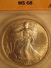 2000  AMERICAN EAGLE SILVER COIN, ANACS GRADED HIGH MS68, 1 Oz. 999% Purity