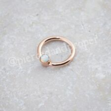 Rose Gold Plated Ring Opal Bcr Ball Captive Ring