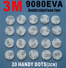 20 Pcs of 3M Double Sided Adhesive Foam Dots White 9080EVA 2CM