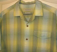 PRISTINE Tommy Bahama Relax Blend Blue Green Plaid Short Sleeve Shirt Large L