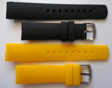 22mm NST Two Replacement Black Yellow Silicone Band Fit Nautica N14538G Watch