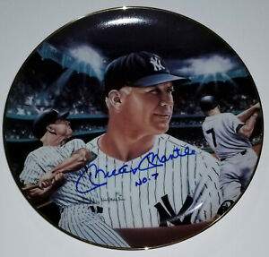 MICKEY MANTLE No 7 At Night Hand-Signed Sports Impressions Plate Auto GA PSA/DNA