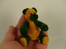 "Miniature Thread Crochet Teddy Bear Green & Gold Jointed 3"" Handcrafted Ooak"