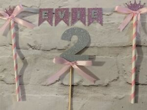 Personalised crown bunting  & number birthday cake topper pink  age glitter 2nd