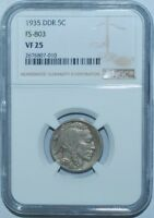 1935 NGC VF25 DDR FS-803 Doubled Double Die Reverse Buffalo Nickel