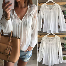 Fashion Women Summer White Lace Tops Long Sleeve Blouse Loose T-shirt Size S-XL