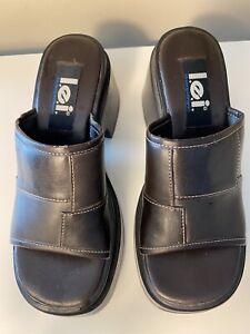 LEI Vintage Shoe Platform Vintage Sandal Wedge  90s Sz 6 Brown Faux Leather