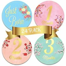 24 Newborn Baby Floral Milestone Stickers, Celebrate 0-12 Months and more