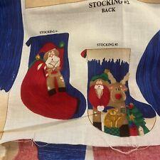 Spring Industries Fabric Panel 3D Christmas Stockings 2 NICK of TIME Susan Hall