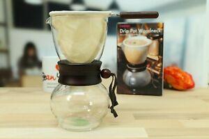 """Hario """"Drip Pot Woodneck"""", Kaffeebereiter mit Stofffilter 0,48 L, coffee machine"""