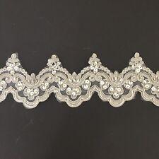 Silver Corded Beaded Sequin Scallop Border Lace Trim Tutu Dance Stage Costume