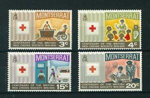 Montserrat 1970 Centenary of Red Cross full set of stamps. MNH. Sg 238-241.