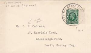 GB 1936 GEORGE KING COVER LONDON STAMP EXHIBITION +GEORGE V STAMPS to KINGSTON