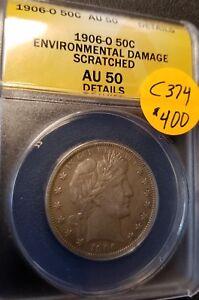 1906 O Certified Barber Half Dollar, AU50, C374
