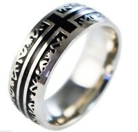 Cross Christian Celtic Pattern Mens' Pinky Womens' Stainless Steel Ring Size 10