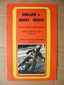 Speedway- 1971 First Speedway Int'l Match ENGLAND v SOVIET RUSSIA, 23 Aug
